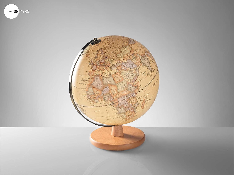 o1458 – o1459 mapamundi con iluminación LED y base de madera cm 30 crema
