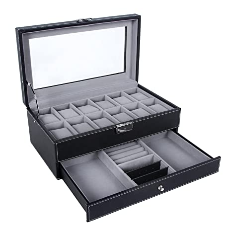 songmics 12 slots watch box mens watch organizer lockable jewelry display case with real glass top