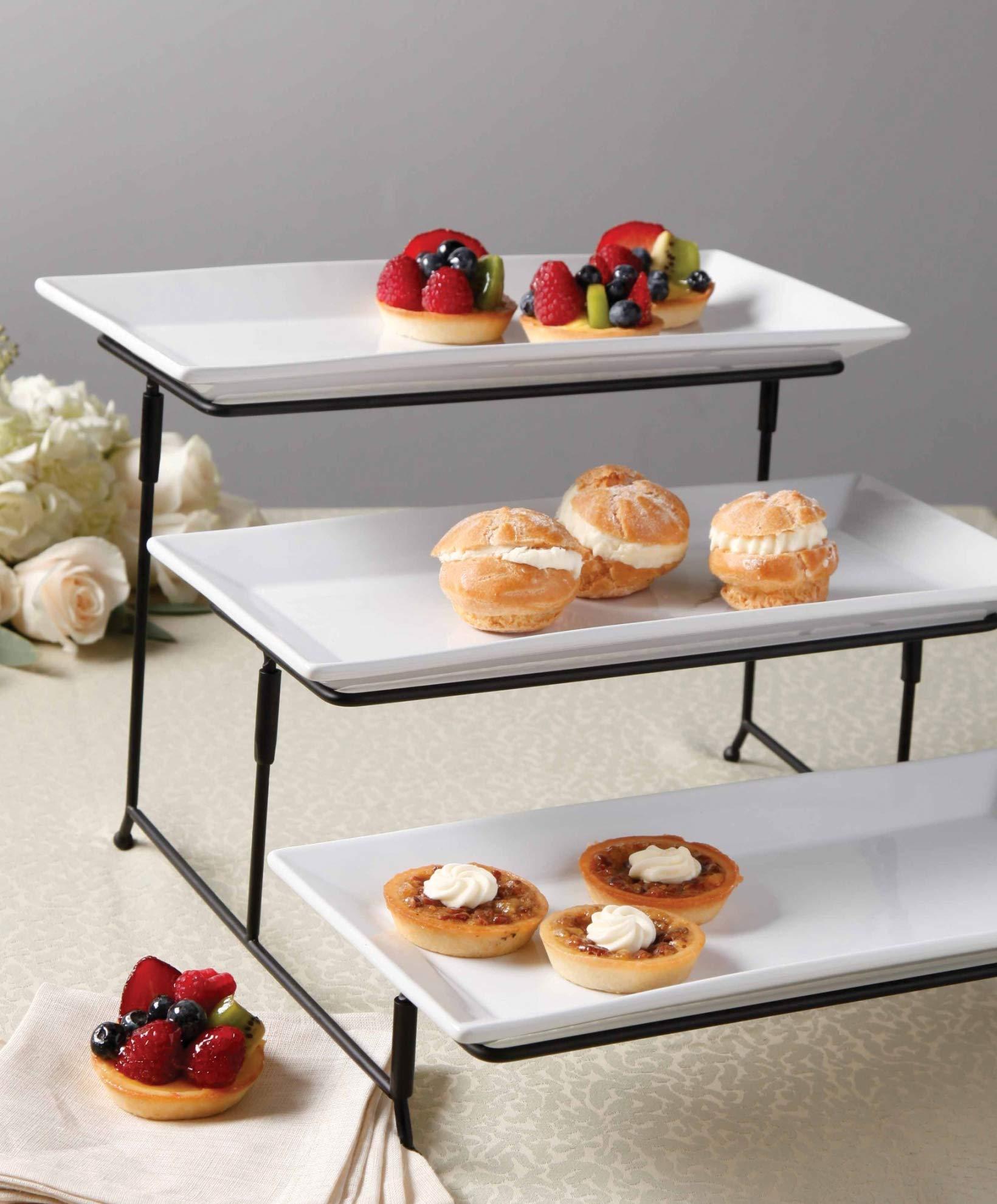 Graciousi Dining Three-Tier Rectangular Plate Set, White And Black