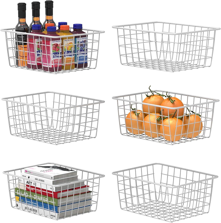 Wire Storage Baskets, F-color 6 Pack Metal Household Storage Organizer Bin for Pantry, Shelf, Freezer, Kitchen Cabinet, Bathroom, Small, White