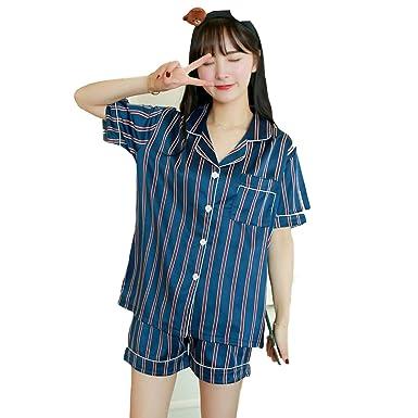 89a13a1cf Womens Pajamas Sets Short-Sleeve Satin Shirts and Shorts 2019 New Striped  Sexy Set Sleepwear