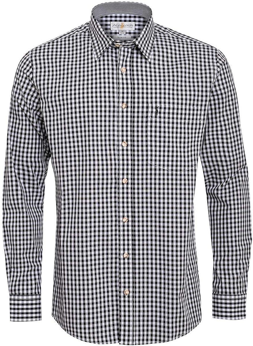 Almsach Slim-Fit Slim-Line - Camisa para Hombre, diseño de Cuadros Tradicionales: Amazon.es: Ropa y accesorios