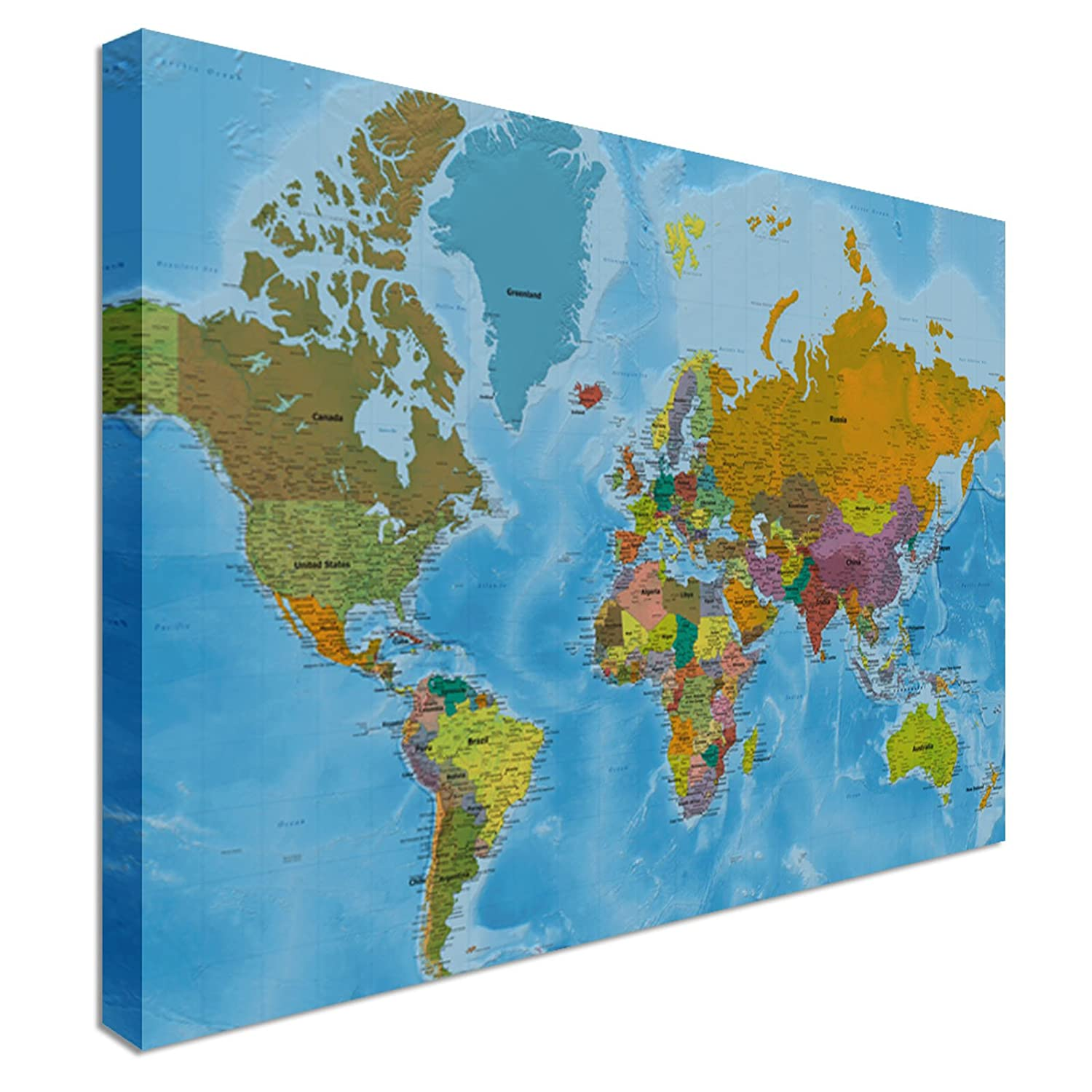 world map highest detail online hi res quality canvas wall art pictures 48 x 30 inches amazoncouk kitchen home