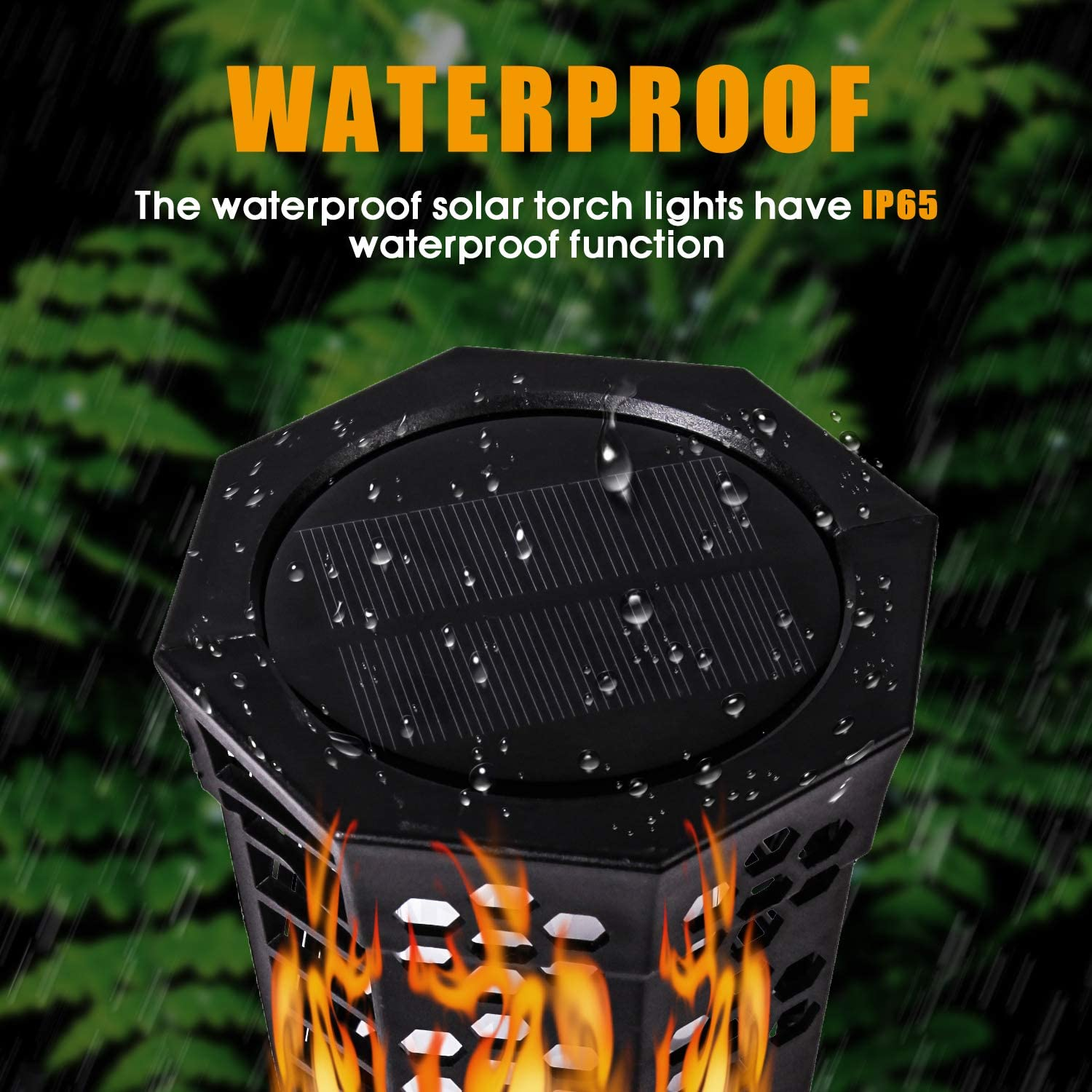 LETTON LED Garden Path Solar Powered Lights Flickering Flames Torches Lights Dusk to Dawn Auto On//Off Waterproof Landscape Lighting Driveway Security Light for Lawn Patio Yard Garden Walkway