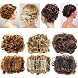 Short Messy Curly Dish Hair Bun Extension Easy Stretch hair Combs Clip in Ponytail Extension Scrunchie Chignon Tray Ponytail Hairpieces -