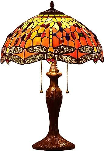 Bieye L30711 Libélula Tiffany Style - Lámpara de mesa de vidrio ...