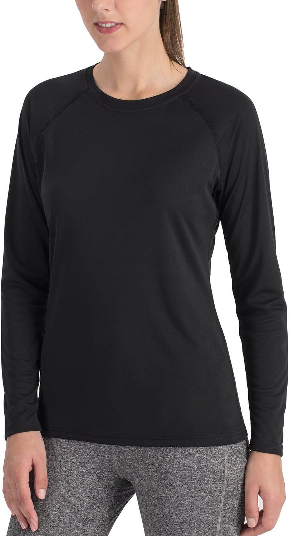 NAVISKIN Camiseta Deportiva para Mujer Protección UV UPF 50+ Manga Larga Cuello Redondo Elástica Térmica Casual Transpirable: Amazon.es: Deportes y aire libre