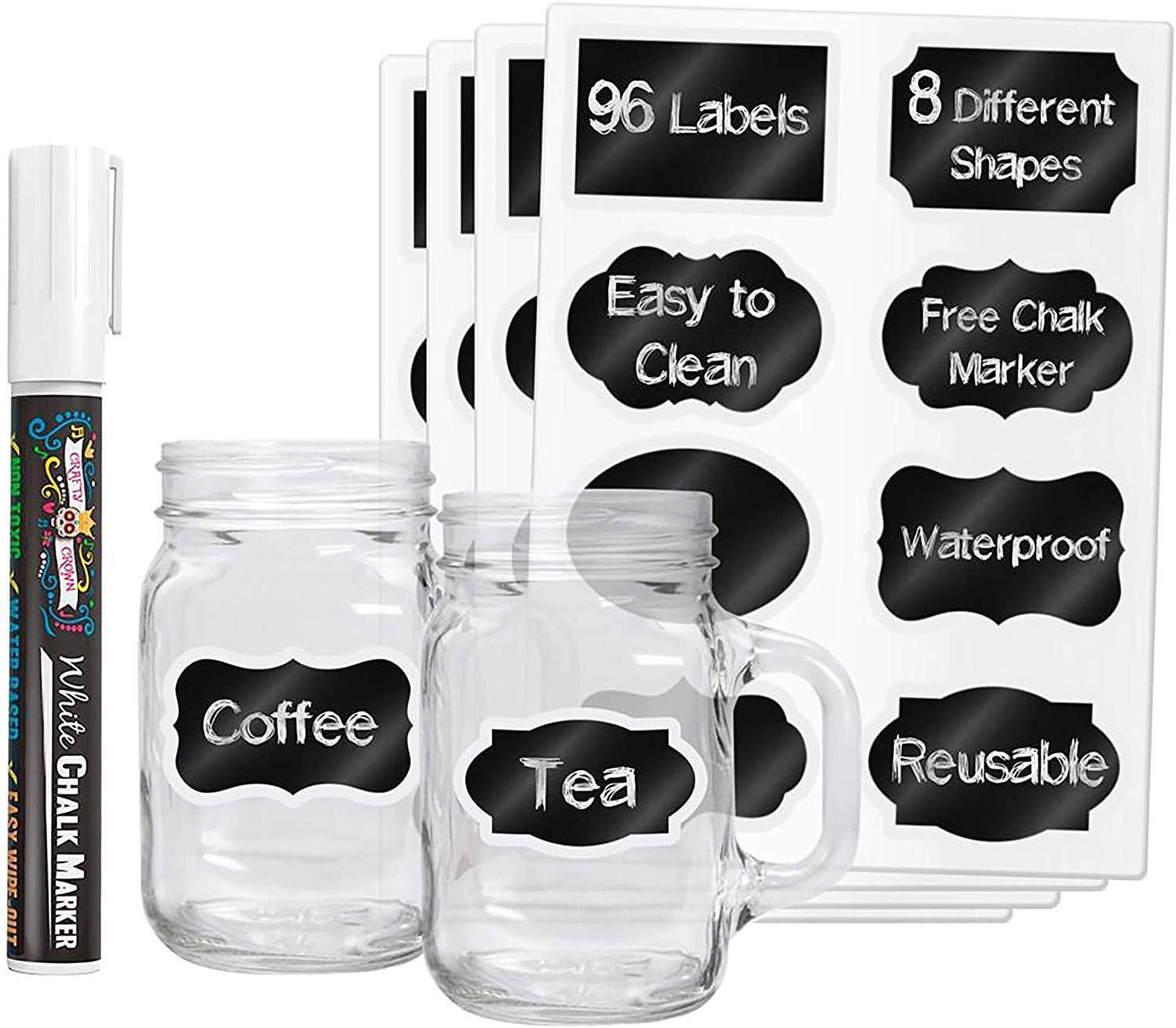 Mason Jars Glass Jars 150Pcs Reusable Blackboard Labels with 2 Pens KDWLL Chalkboard Labels Medium Waterproof Chalkboard Stickers with Lace for Storage Bins