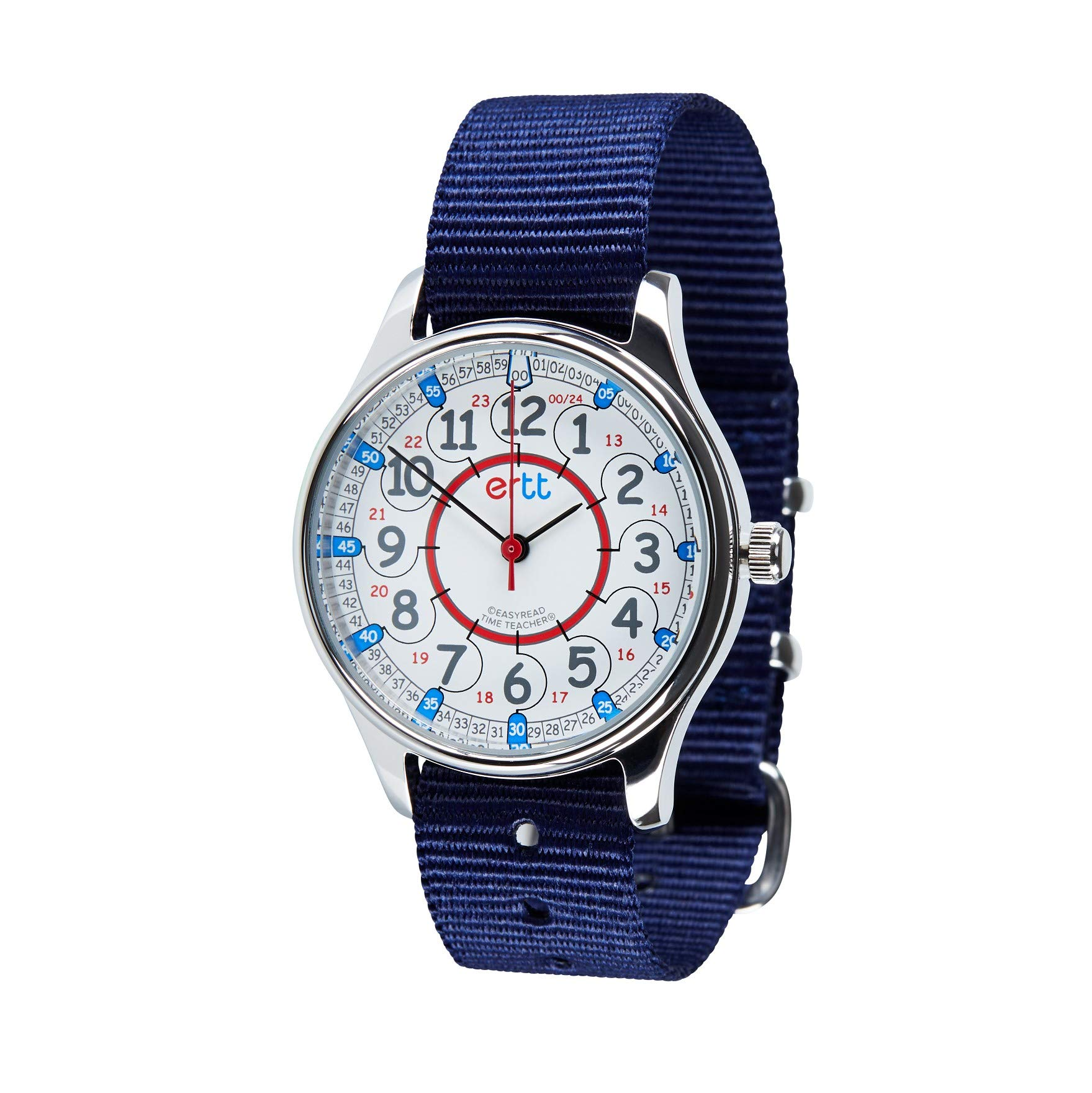 EasyRead Time Teacher WERW-RB-24-NB Red Blue 12/24 Hour Face Waterproof Watch, Navy Blue Strap by EasyRead Time Teacher