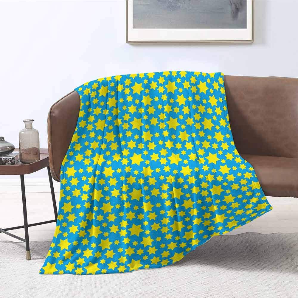 zojihouse Yellow and Blue Living Room/Bedroom Warm Blanket Stars Motif in Various Size Spiritual with Kids Effects Cute Design W55.5xL71 Yellow Violet Blue