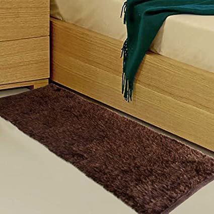 AVIONI Clearance Handloom Coffee Bedside Runners in Soft Fur -56x 139 cm