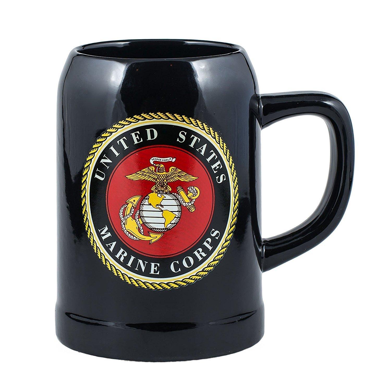 United States Marine Corps Decal Logo Black 16.9 Ounce Stoneware Mug