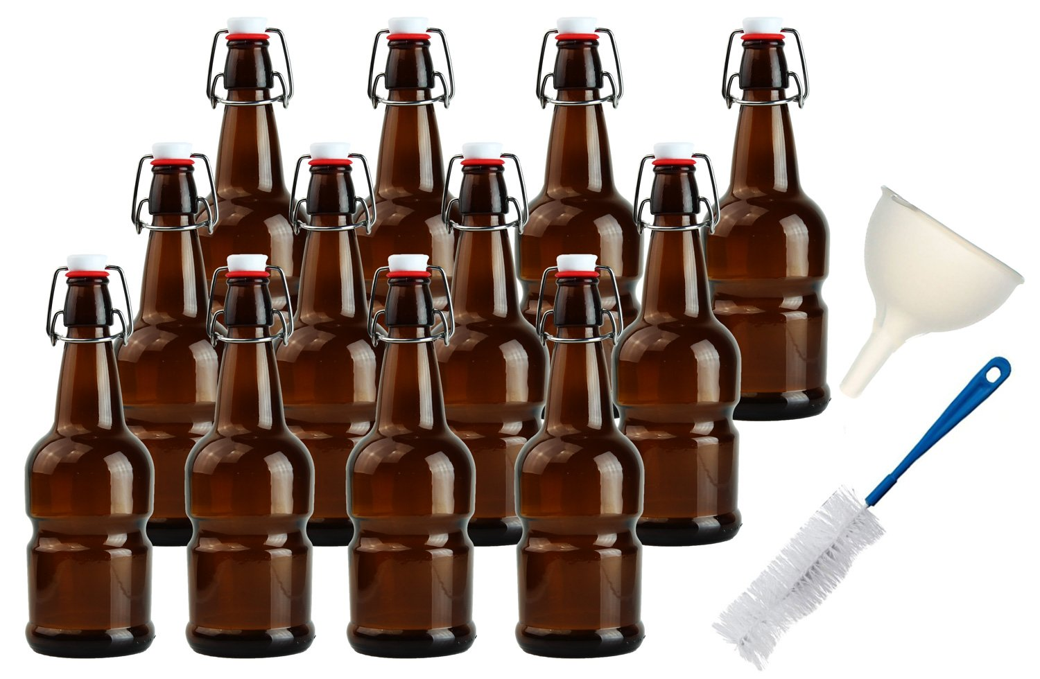Teikis 16oz Kombucha/Beer Bottles (12 Pack|Amber) with Funnel + Brush (Better Grip Non Slip)