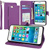 Evecase iPhone 6S Case, Leather Wallet Folio Case with Credit Card ID Slots, Currency Pocket, Hand Strap and Stand for Apple iPhone 6S / 6 4.7-inch Smartphone - Purple