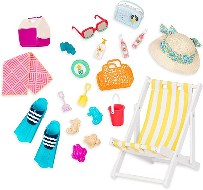 """American Our Generation DAY AT THE BEACH Chair Sandcastle Shells 18/"""" Girl Doll"""