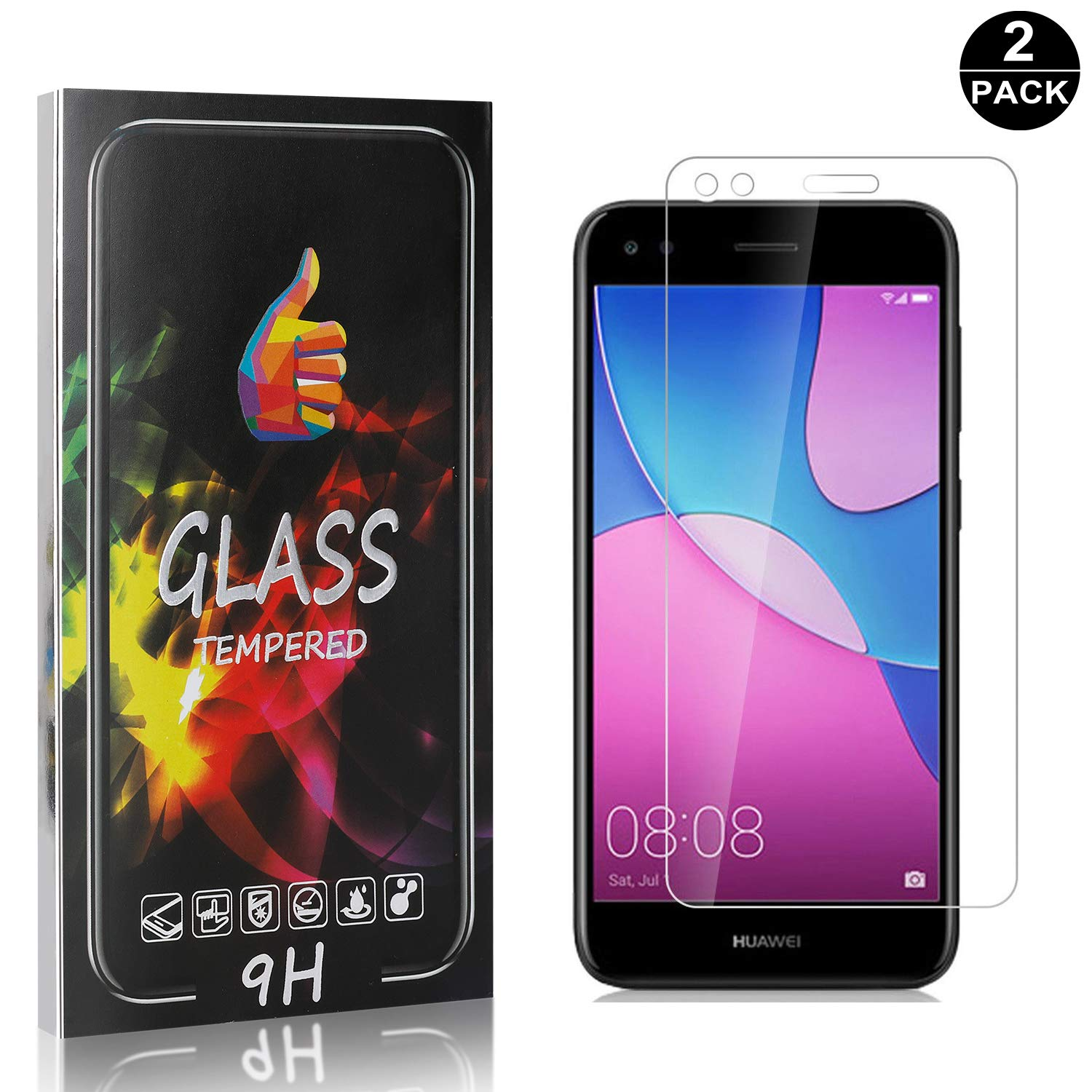 2-Pack Anti Scratch Bubble Free Screen Protector UNEXTATI Screen Protector for Huawei P9 Lite Mini Tempered Glass Screen Protector