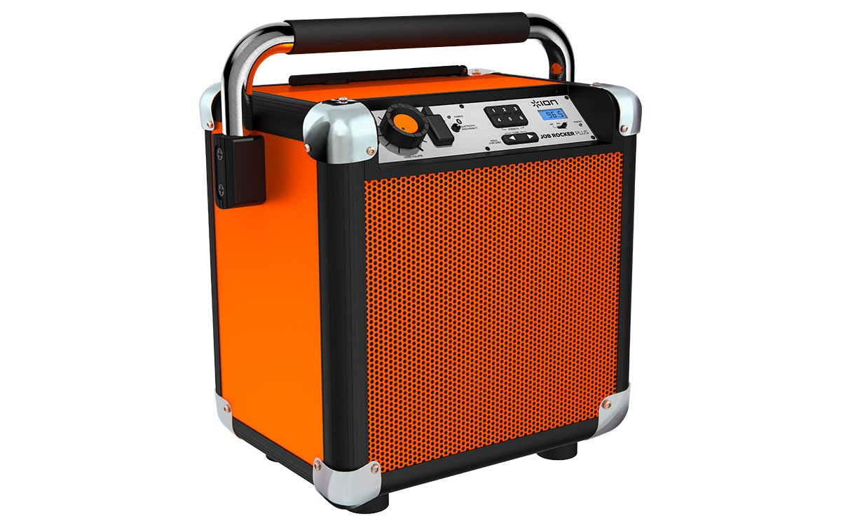 ION Audio Job Rocker Plus | Portable Heavy-Duty Jobsite Bluetooth Speaker System with AM/FM Radio & Dual AC Power Outlets