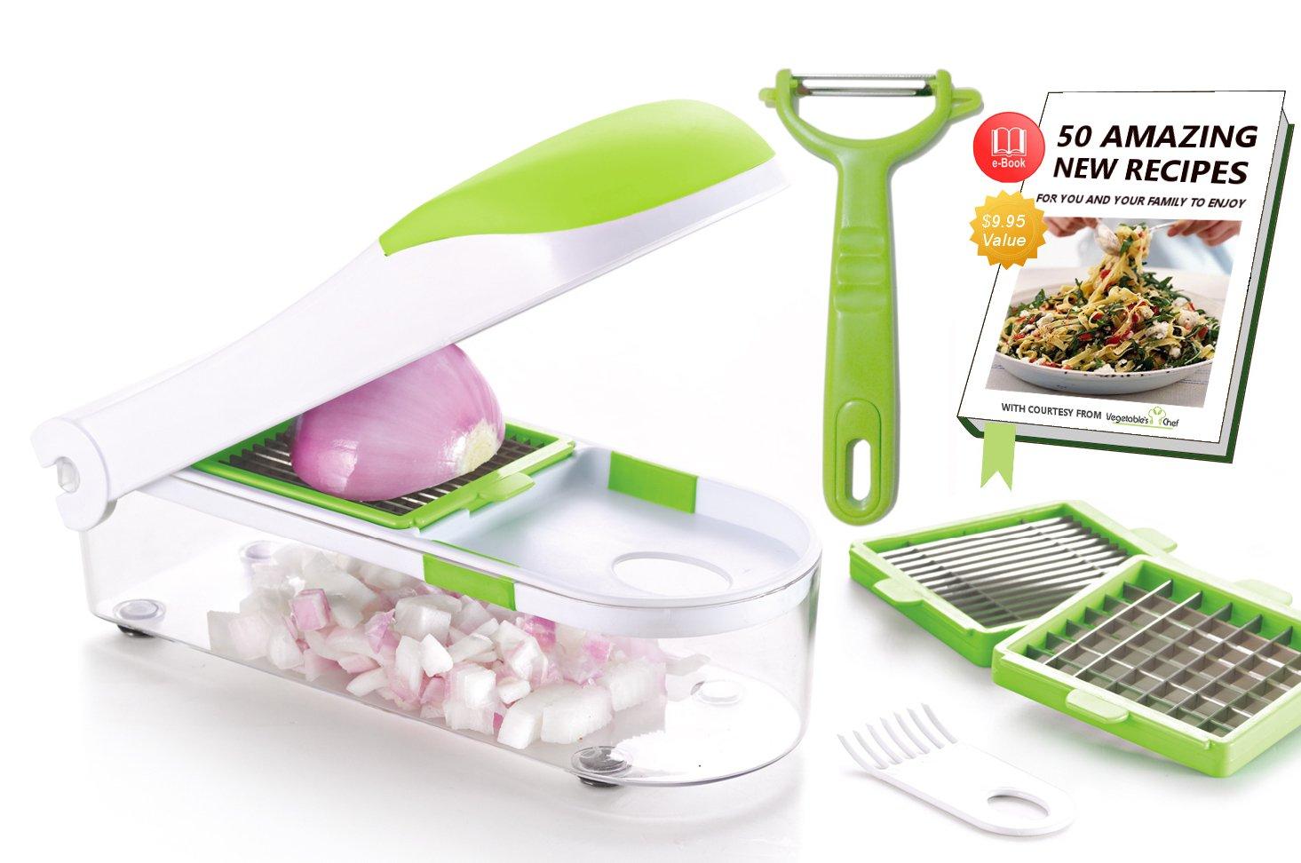 Vegetables Chef - Chopper de papas, cebolla, vegetales, frutas y queso - eBook gratuito de recetas y peladores: Amazon.es: Hogar