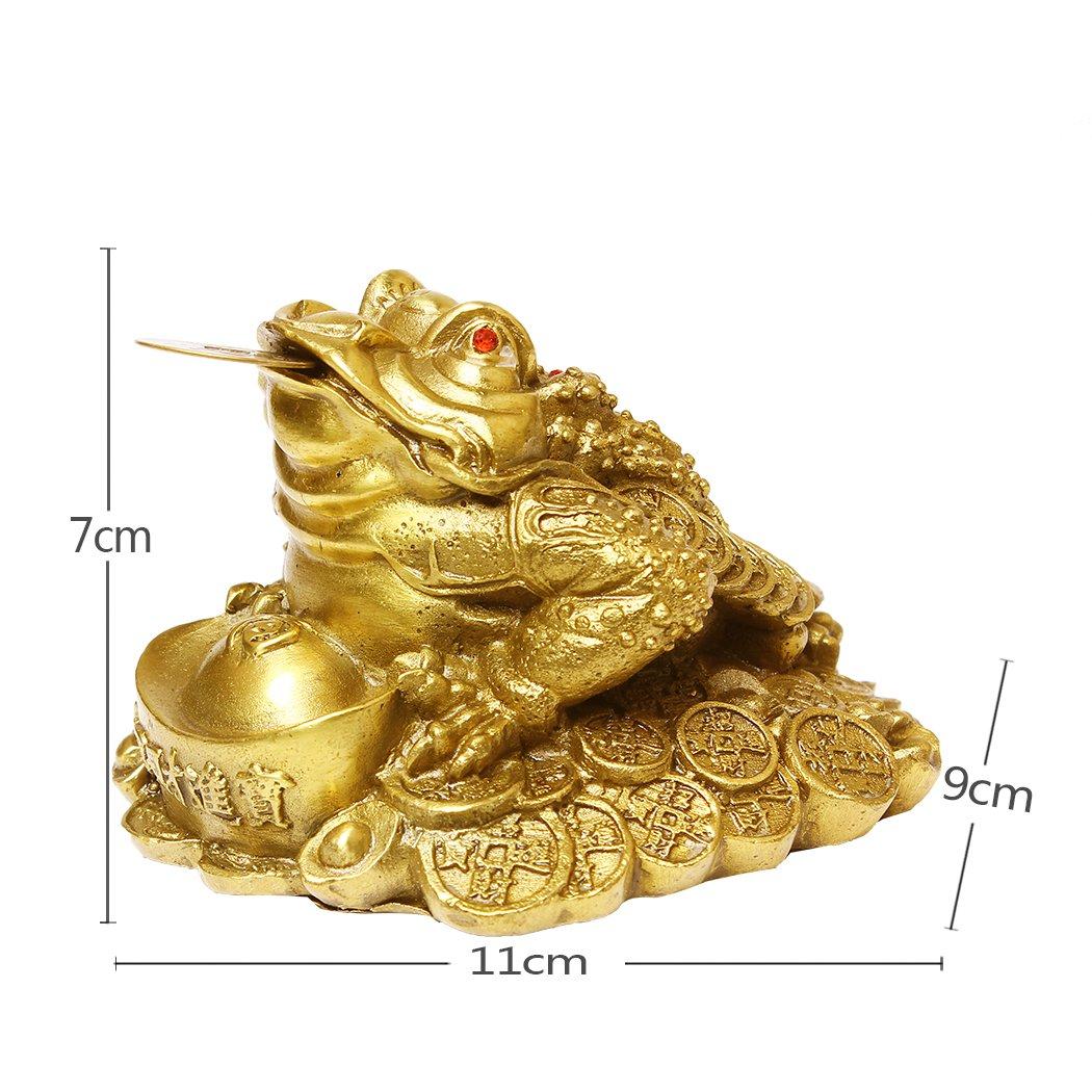 Amazon.com: Feng Shui Brass Money Frog Statue Wealth Toad Sculptures ...