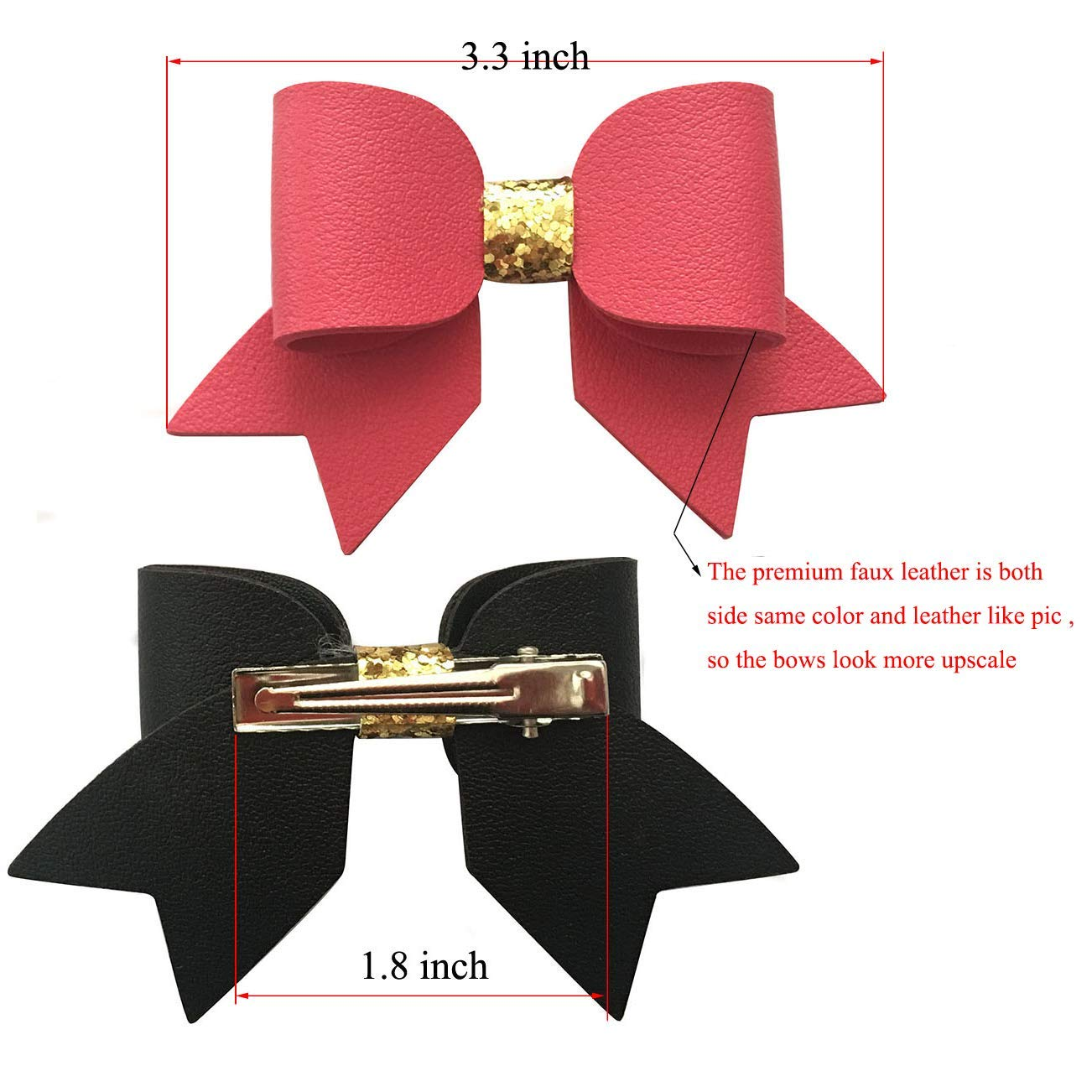 Gold Faux Leather Girls Toddler Hair Bow Gold Leather Baby Bow Little Bare Buns