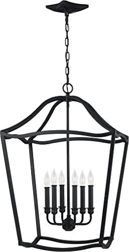 Feiss F2976 6AF Yarmouth Pendant Lighting Lantern, Iron, 6-Light 20 Dia x 30 H 360watts