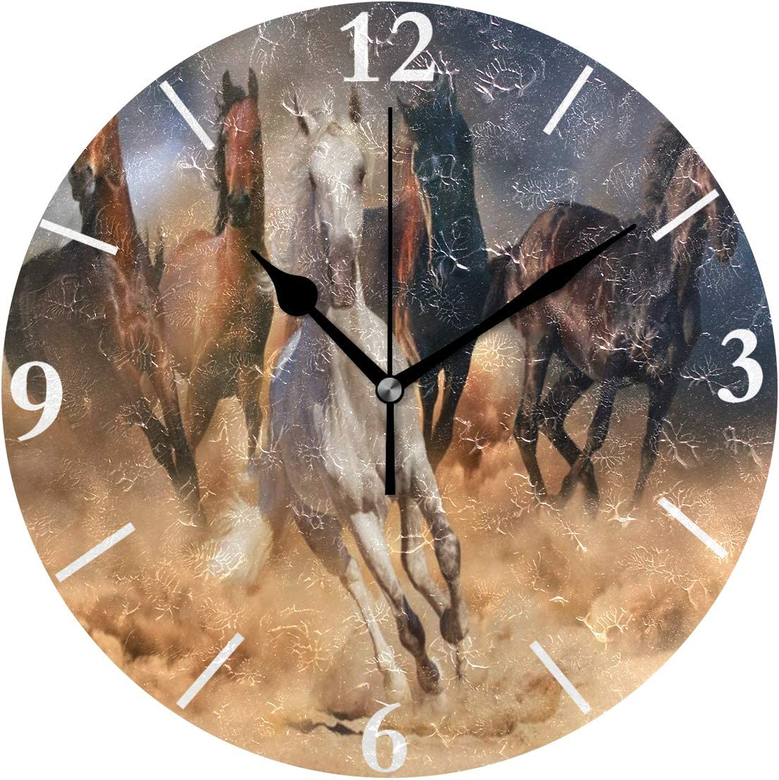 SLHFPX Wall Clock Running Horse Silent Non Ticking Decorative Round Digital Clocks Indoor Outdoor Kitchen Bedroom Living Room