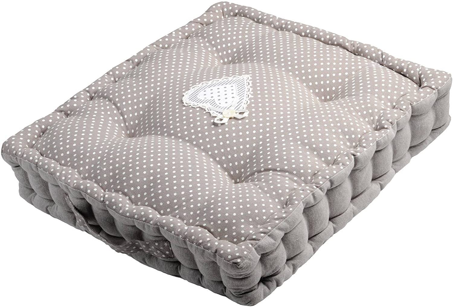 Soleil docre Bella Coussin Tapissier Blanc 40x40x8 cm Polyester