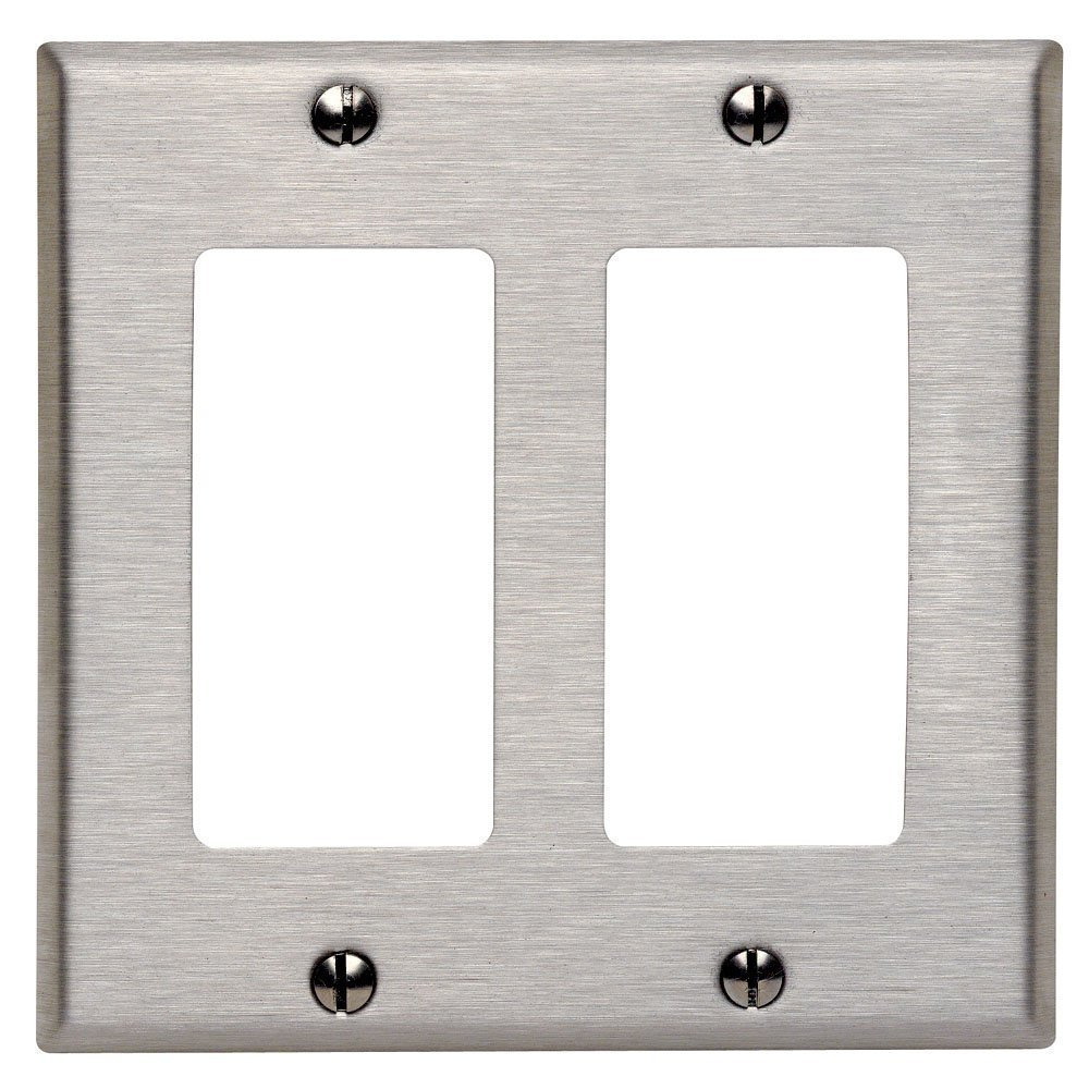 Leviton 84409-040 10 Pack 2-Gang Decora/GFCI Device Decora Wallplate, Brushed Stainless Steel