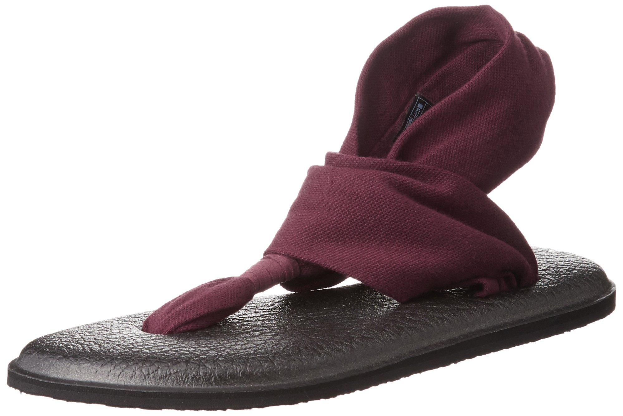 Sanuk Women's Yoga Sling 2 Flip Flop, Burgundy, 8 M US
