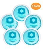 IceWraps Round Reusable Gel Ice Packs With Cloth Backing (5 Pack) - Great for Kids Injuries, Breastfeeding, Wisdom Teeth, Tired Eyes, Sinus Relief, First Aid Hot or Cold Compress