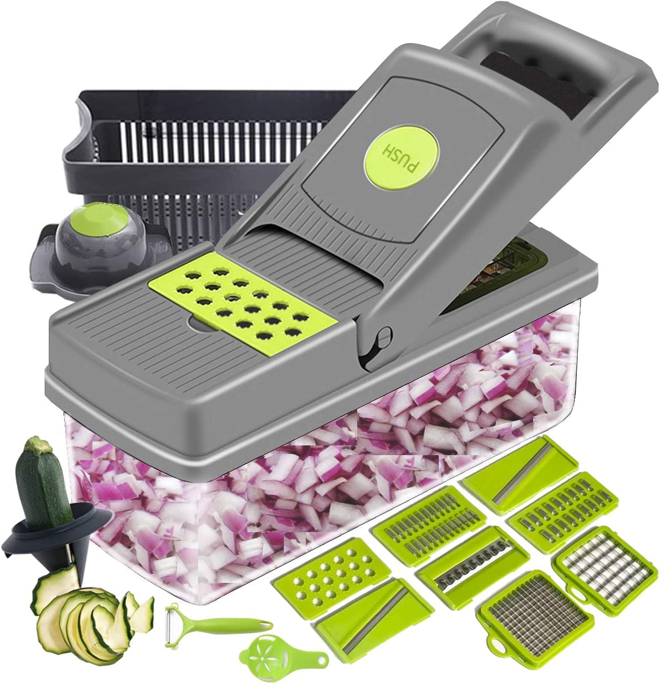 ZeeMart Mandoline Slicer Cutter Chopper and Grater, 15 in 1 Veggie Chopper with Spiralizer Tools, Tomato Carrot Cutter Salad Potato Cheese Slicer with Container