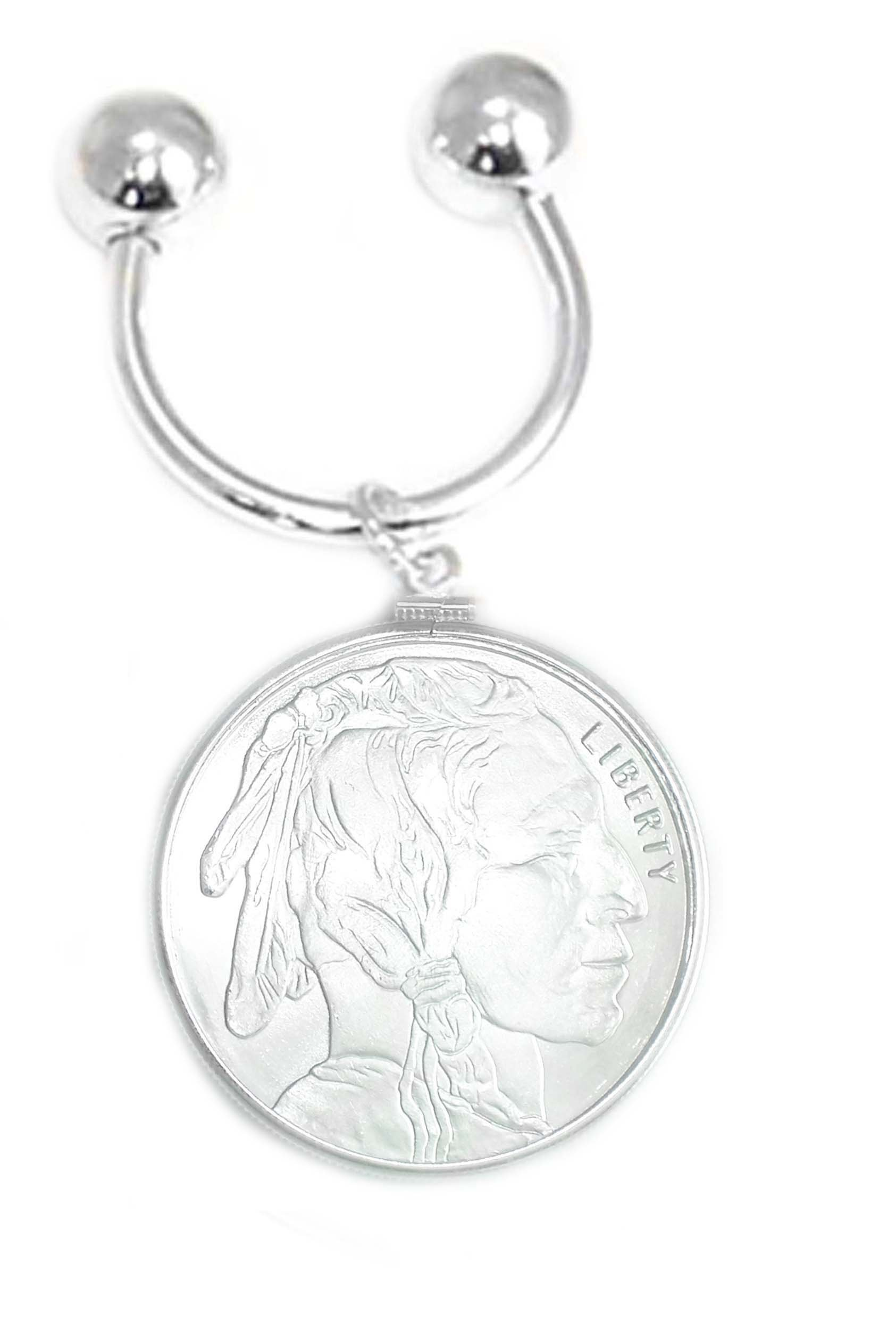 Sterling Silver 1 oz Indain Head Buffalo Horseshoe Keyring With Coin