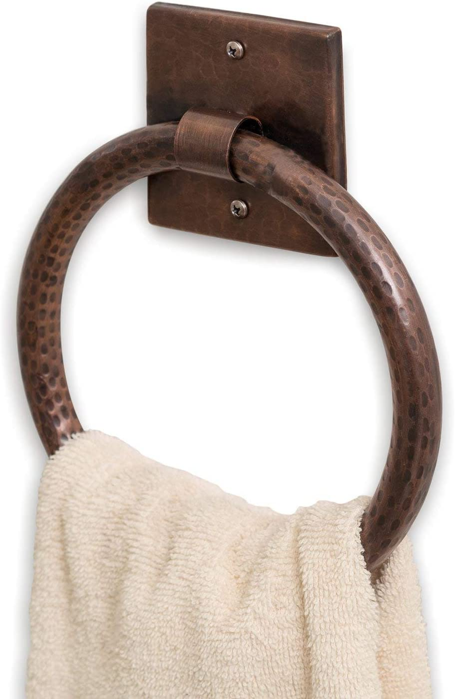Monarch Abode 18006 Hand Hammered Towel Ring Satin Nickel