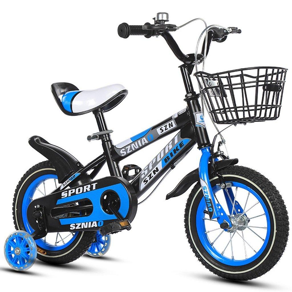 子供用自転車4-7男性と女性の乳母車16インチ子供用自転車高炭素鋼フレーム、オレンジ/青/赤 (Color : Blue)   B07CZYCRVM
