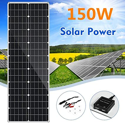 Amazon Com Huajin 150w Sunpower Flexible Thin Lightweight Etfe Solar Panel Charger 18v Monocrystalline Solar Cell For Rv Boat Cabin Tent Yacht Car Off Grid Applications Sports Outdoors