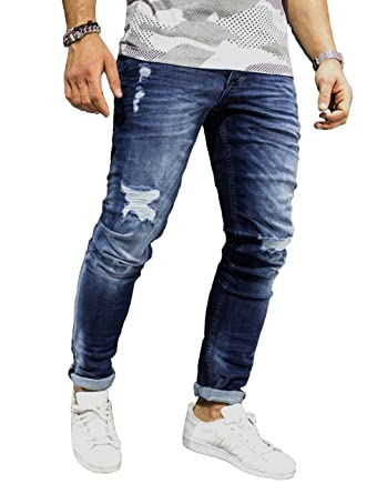 e501530a Sarriben Men's Ripped Destroyed Jeans Slim Fit Distressed Denim Pants  Trousers Blue003 28