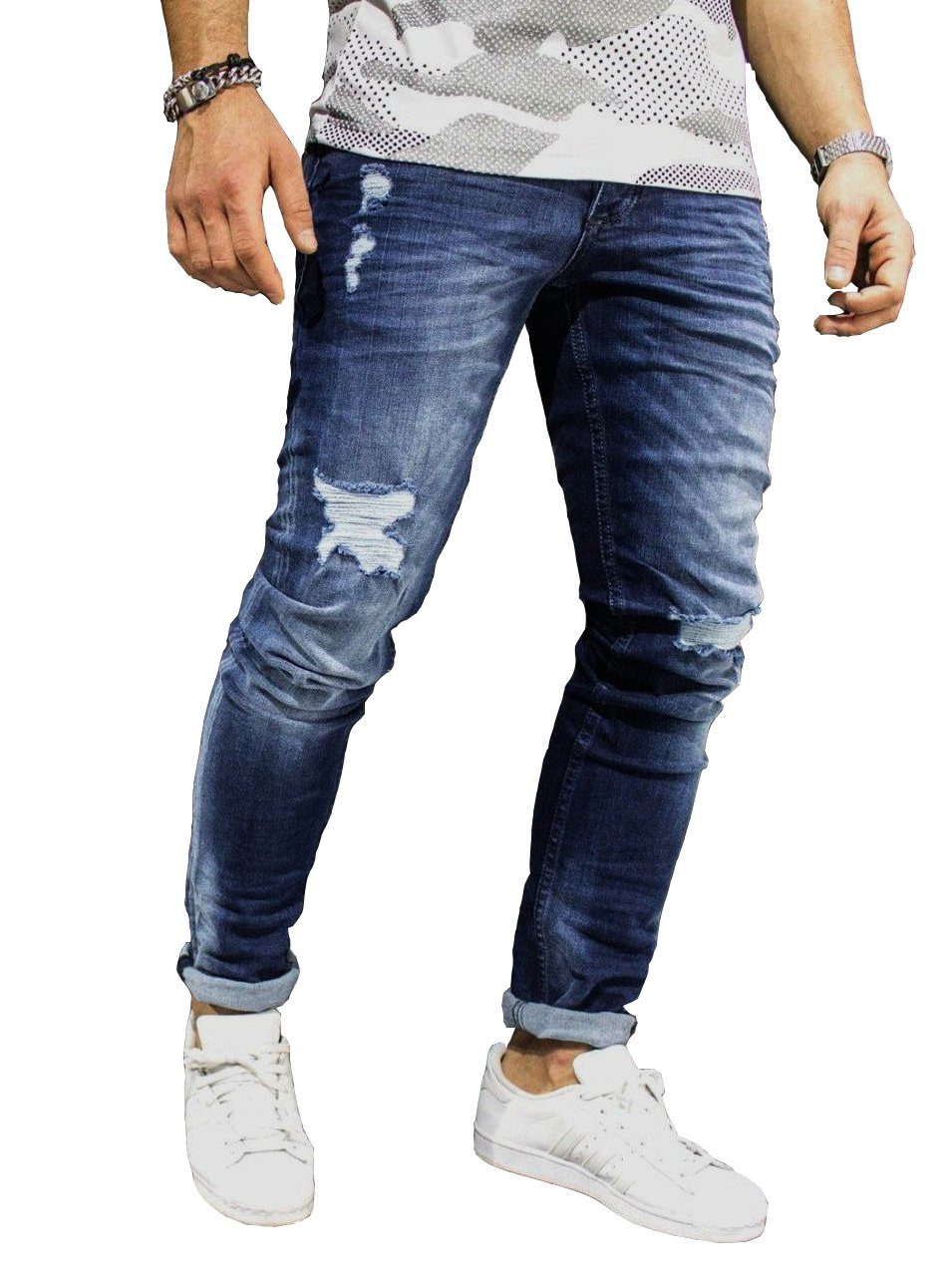 Men's Ripped Destroyed Jeans Slim Fit Distressed Denim Pants Trousers Blue003 34