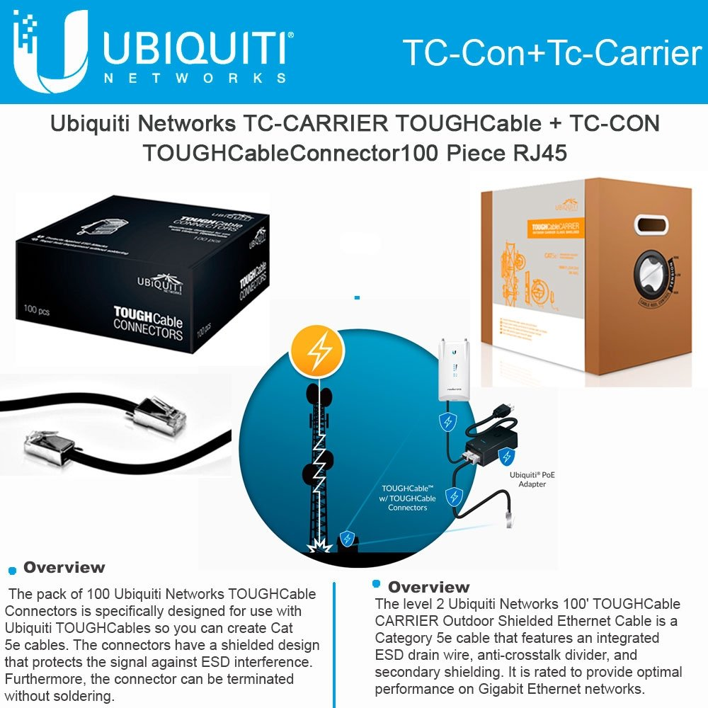 Ubiquiti Tc Carrier Toughcable Con 100 Rj45 Male Wiring Diagram Connectors 100piece Computers Accessories
