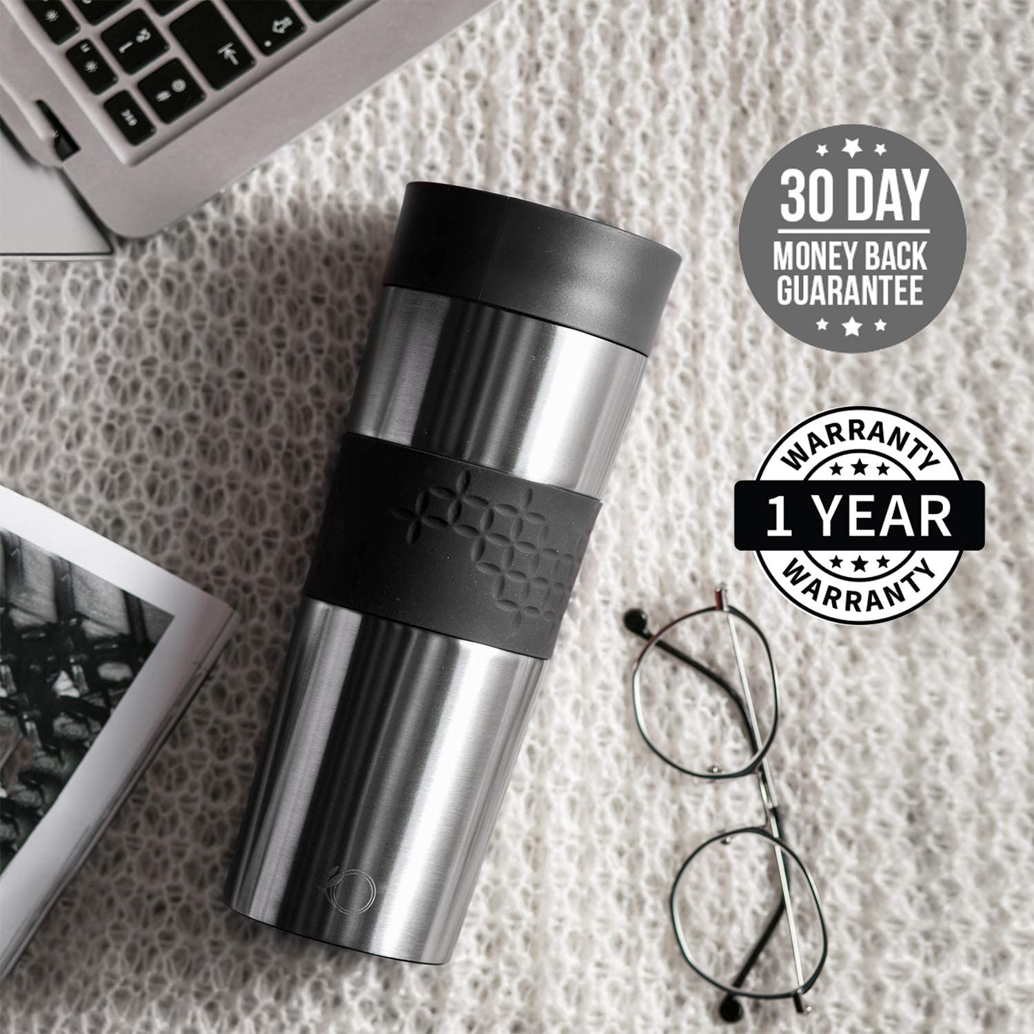 Easy to Open and Close Coffee Cup Double-Walled Vacuum Thermal Insulation Tumbler Stainless Steel Travel Mug 450 mL Leakproof
