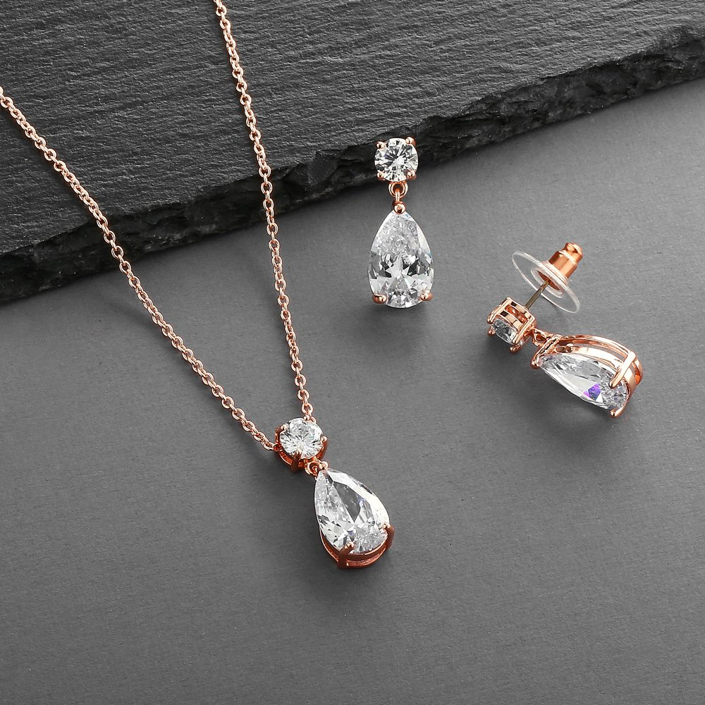 Mariell 14K Rose Gold Plated CZ Teardrop Bridal Necklace and Earring Set for Weddings, Bridesmaids & Prom by Mariell (Image #6)