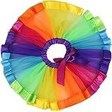 Jastore Girls Layered Rainbow Tutu Skirt Dance Dress Ruffle Tiered Clubwear