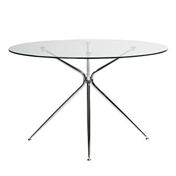 Amazoncom Round Glass Meeting Table W Chrome Base Office - Round glass conference table
