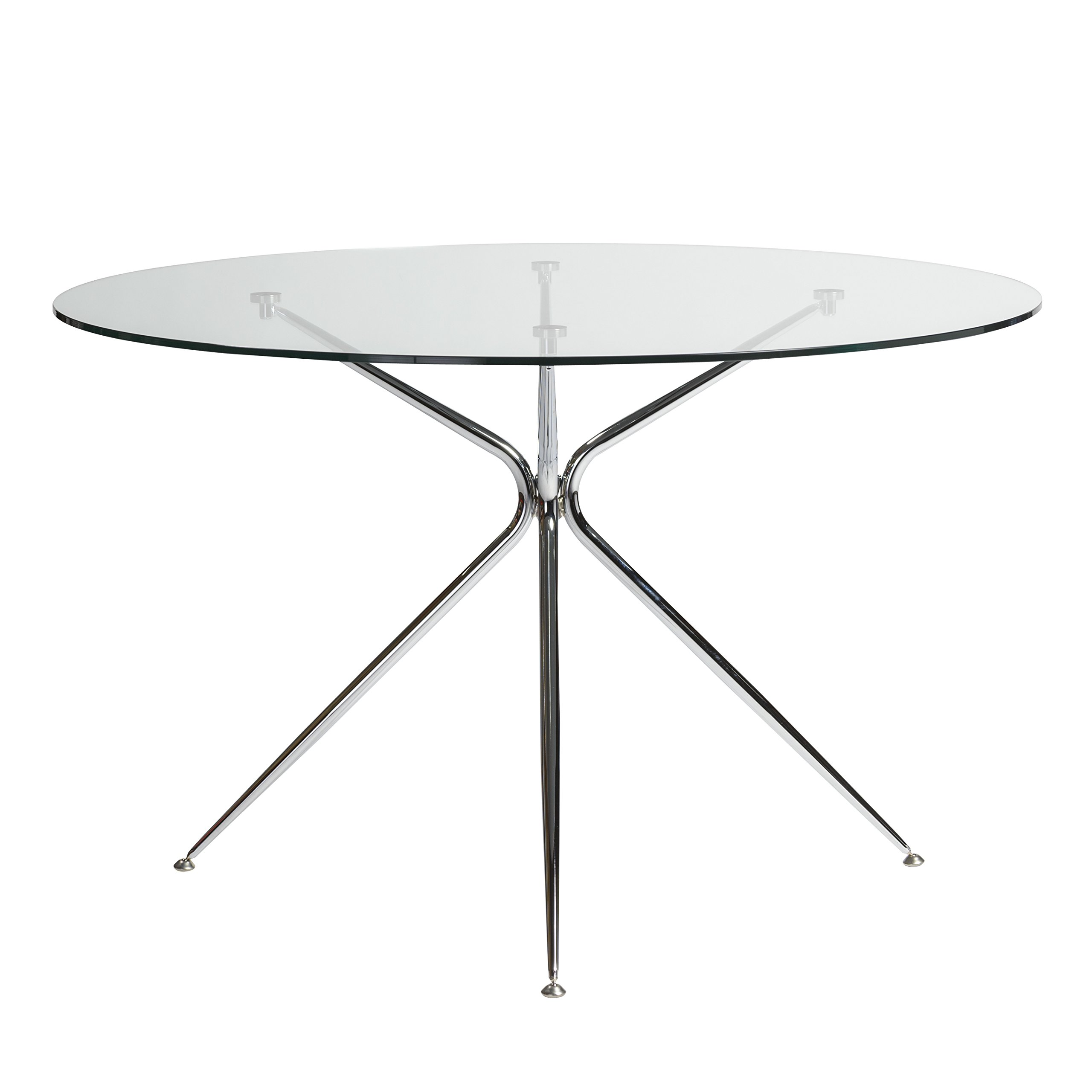 48'' Round Glass Meeting Table w/Chrome Base by eS (Image #1)