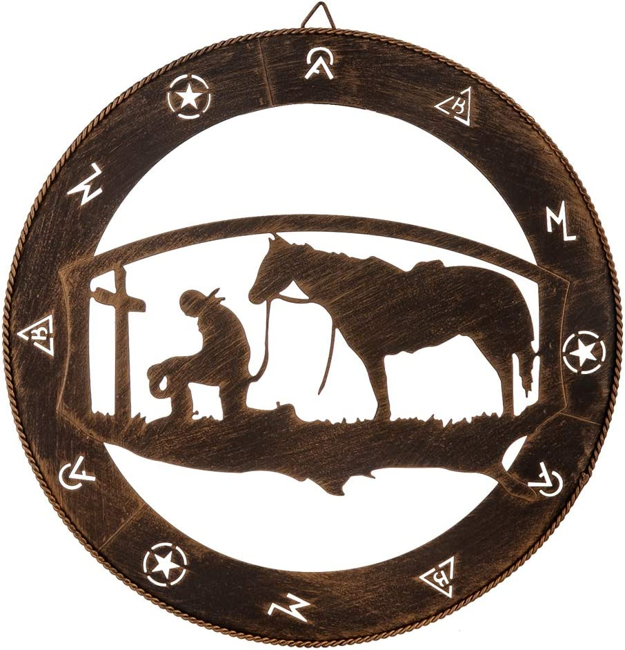 Country Western Rustic IronCowbo y Horse Wagon Wheel Hanging Welcome Door Sign