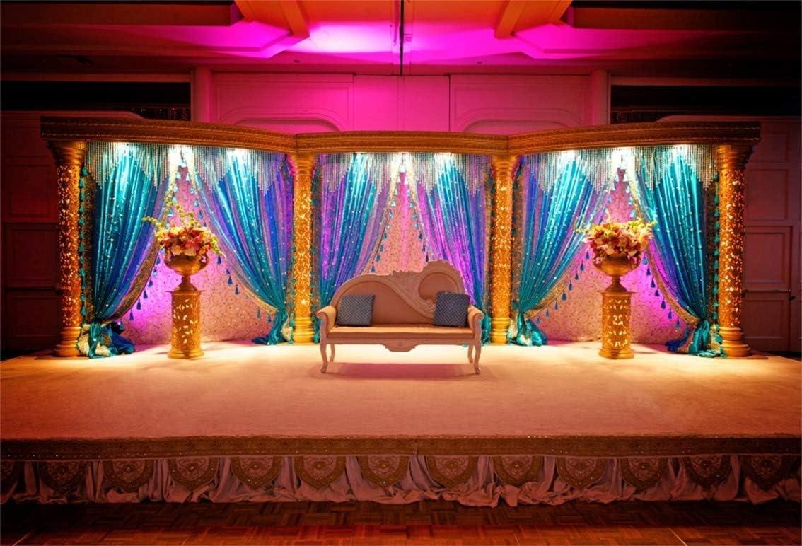5x4FT Vintage Indian Wedding Room Backdrop Luxury Marriage Mandap Background Stage Curtain Sofa Pillows Flowerpots Traditional India Custom Religious Portrait Studio Prop Vinyl Wallpaper