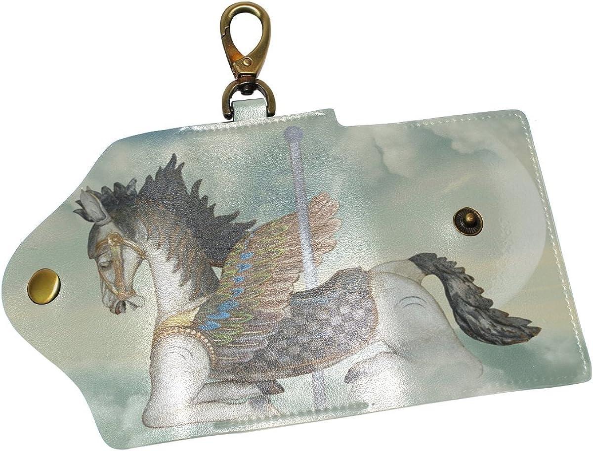 DEYYA Horse Carrousel Leather Key Case Wallets Unisex Keychain Key Holder with 6 Hooks Snap Closure