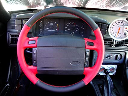 RedlineGoods leather/Alcantara steering wheel cover tailor-made for Ford F-150 1992