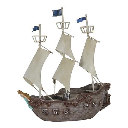 Exhart Neverland Jolly Roger Pirate Ship, Resin, Garden Statue/Figurine,  Solar Powered