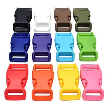60 unidades varios colores hebillas 15 mm contorneado Side liberación hebillas de plástico para paracaídas mochila correas cincha: Amazon.es: Hogar