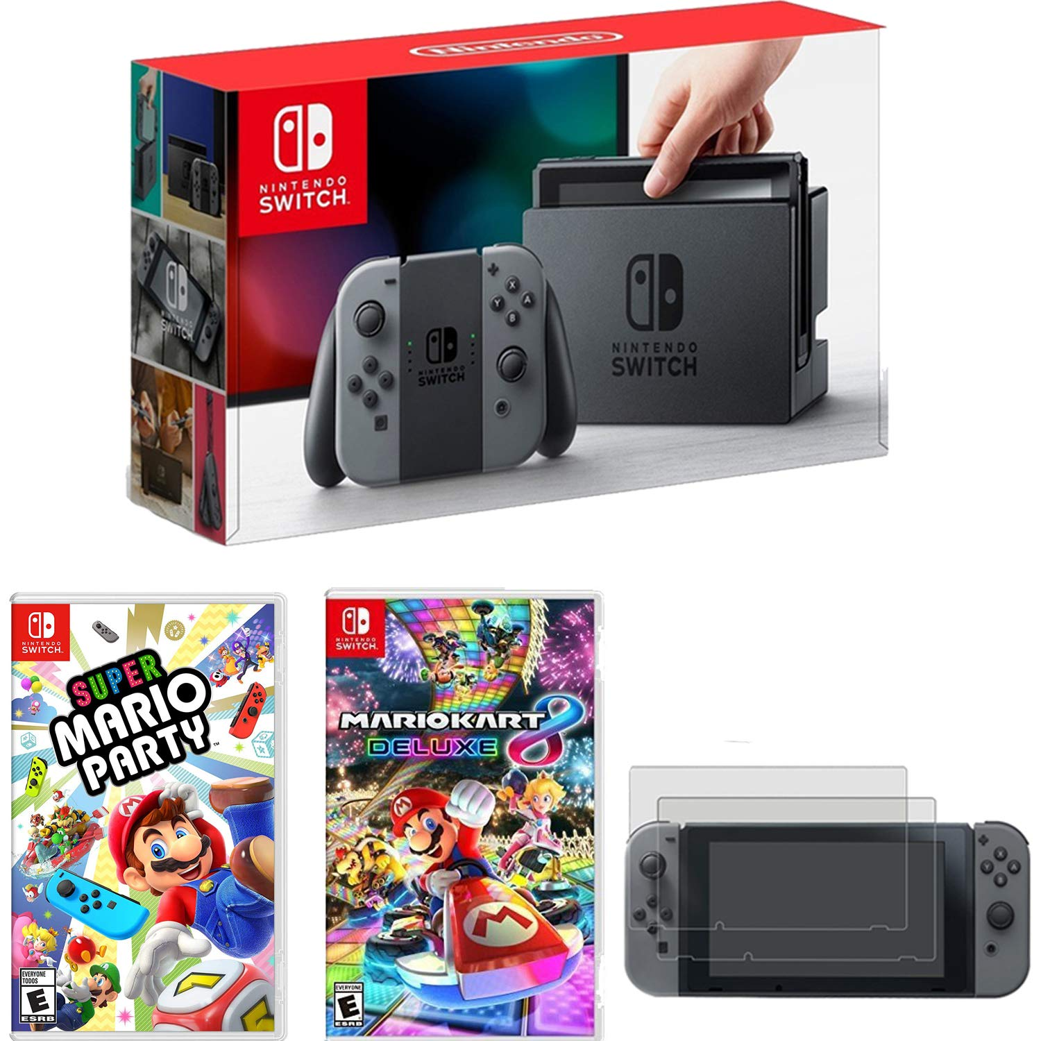 Nintendo Switch 32GB Console Gray JoyCon + Mario Kart 8 Deluxe+Super Mario Party Bundle